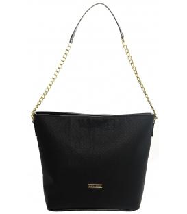 Čierna matná kabelka cez rameno s retiazkou S569   Grosso