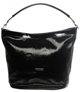 Černo lesklá kabelka mechového tvaru S576 Grosso