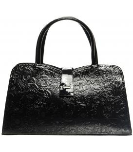 Čierna elegantná kabelka s kvetovanou potlačou 283 - Grosso