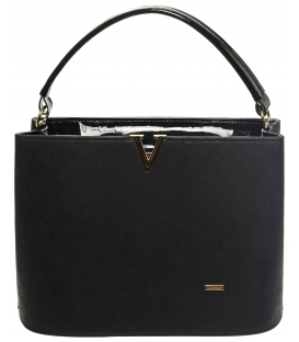 Čierna matná kabelka s vystužením S623 - Grosso