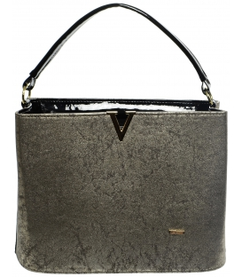 Zlato-čierna patinovaná kabelka S623 - Grosso