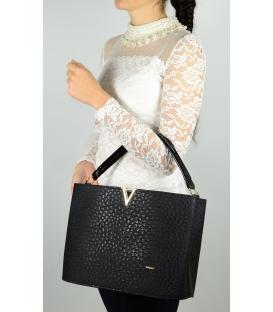 Čierna vystužená kabelka so zlatou ozdobou S623 - Grosso
