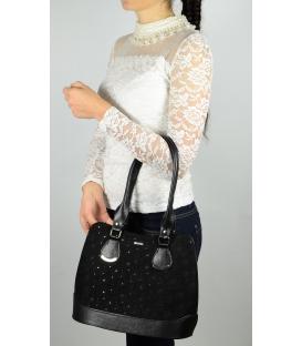 Čierna elegantná kabelka s dlhými rúčkami a potlačou S608 - Grosso