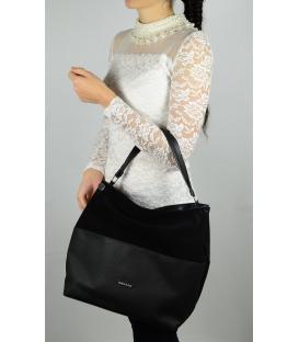 Čierna elegantná kabelka cez rameno S613 - Grosso