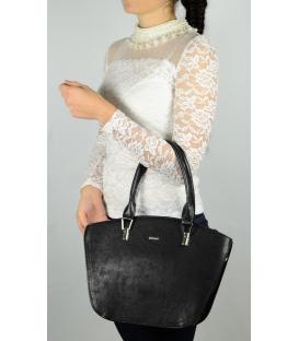 Čierna vystužená kabelka s dlhými rúčkami S525 - Grosso