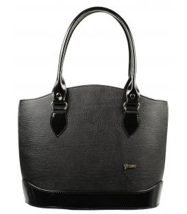 Čierna matno lesklá vystužená kabelka S55   Grosso