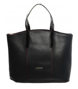 Čierna praktická elegantná kabelka s červeným lemom S624 - Grosso