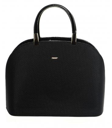 Černá elegantní vyztužená kabelka S 606 - GROSSO