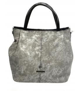 Sivá moderná mechová kabelka s mramorovým efektom S400   Grosso