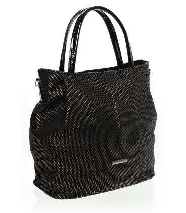 čierna brokátová mechová kabelka  S400   Grosso