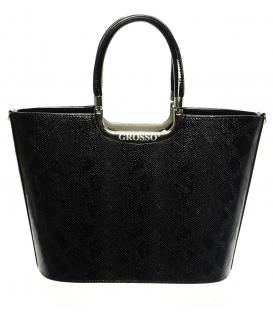 Elegantná čierna kabelka s kroko efektom S7 - Grosso