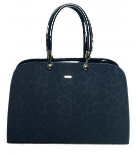 Modrá vystužená elegantná kabelka s potlačou hada S599 - Grosso