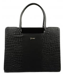 Čierna elegantná kabelka s kroko prechodom S551   Grosso