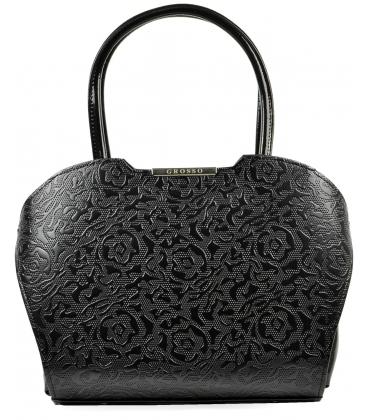 Černá lesklá kabelka s lukrativní potiskem S467 - Grosso