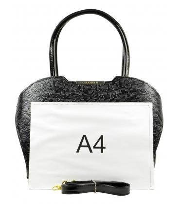 Čierna kabelka doplnená jemým semišom S452 - Grosso