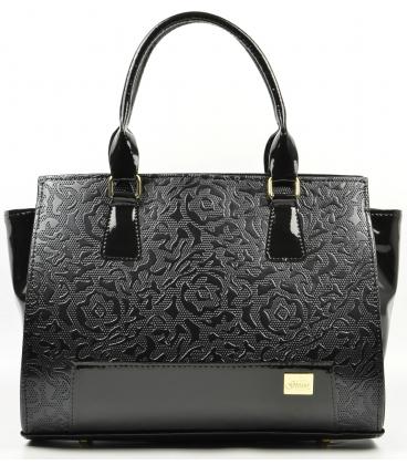 Černá matná kabelka s potiskem růží S488 - Grosso