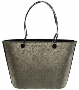 Zlato-černá vyztužená kabelka S631 - Grosso