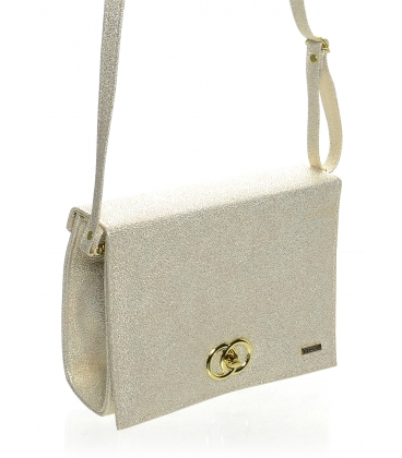 Béžovo-zlatá brokátová crossbody kabelka S618- GROSSO
