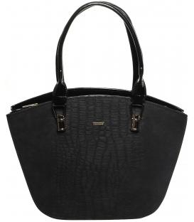 Čierna elegantná kabelka s kroko prechodom S525 - Grosso
