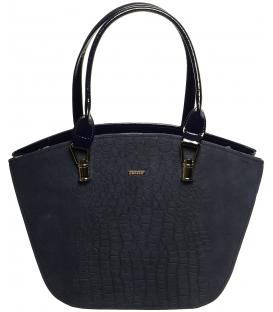 Modrá elegantná kabelka s kroko prechodom S525 - Grosso