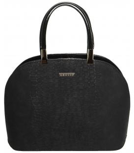 Čierna oblá kabelka z brúseného materiálu S606 - Grosso