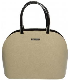 Béžovo-hnedá oblá kabelka S606 - Grosso