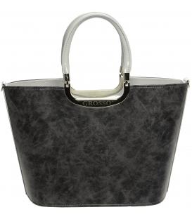 Sivá elegantná kabelka s výstuhou S7 - Grosso