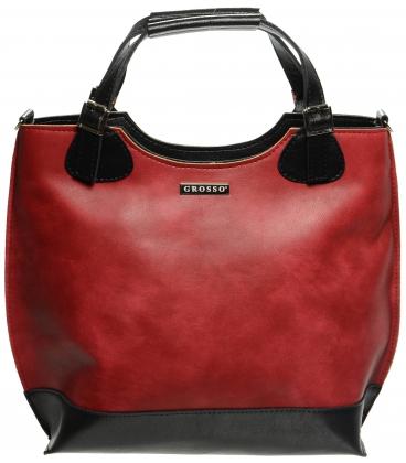Červeno-černá shopper kabelka S581 - Grosso