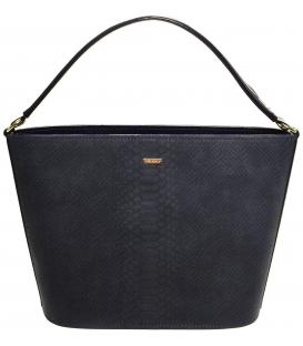 Tmavomodrá vystužená kabelka s potlačou S629 - Grosso