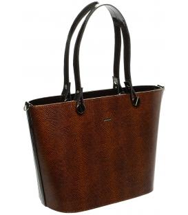 Koňakovo-hnedá kabelka s hadím vzorom S631 - Grosso