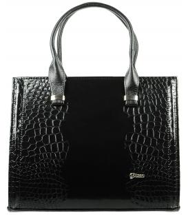 Čierna hranatá kabelka s kroko efektom S529 - Grosso