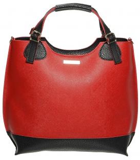 Červeno-čierna shopper kabelka S530 - Grosso