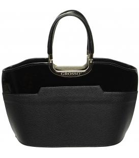 Čierna matno-lesklá kabelka do ruky S5 - Grosso