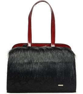 Čierno-červená kabelka s kožušinkou S639 - Grosso
