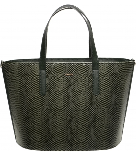 Zelená vyztužená kabelka s hadím vzorem S640 - Grosso