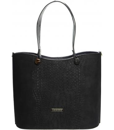 Čierno-modrá kabelka s kroko prechodom S638 - Grosso