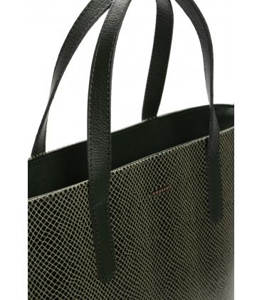Zelená vystužená kabelka s hadím vzorom S640 - Grosso