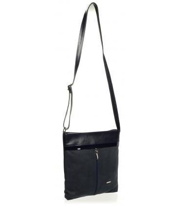 Modrá crossbody kabelka s lakovaným lemom M198 - Grosso