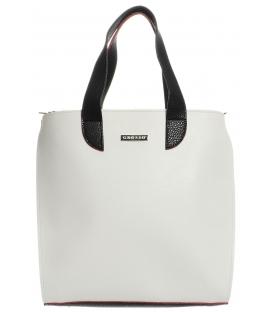 Vysoká bílá kabelka s černými ručkami S568 Grosso