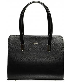 Černá elegantní kabelka s hadím vzorem S641 - Grosso