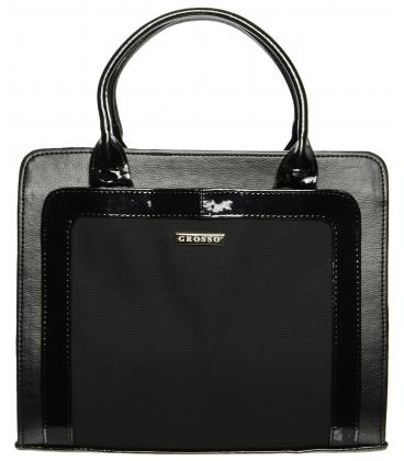 Čierna elegantná kabelka s hadím vzorom S641 - Grosso