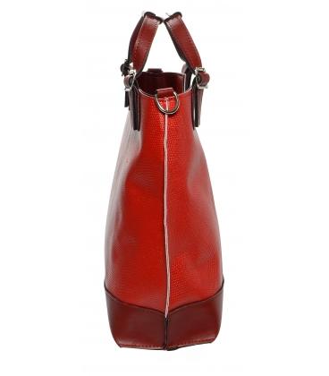 Červená shopper kabelka s potlačou S581 - Grosso