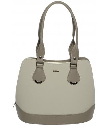 Béžovo-hnedá vystužená kabelka cez rameno S608 - Grosso