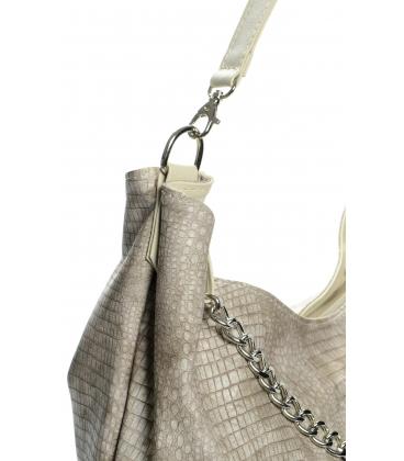Hnedo-béžová mechová kabelka s retiazkou S633 - Grosso