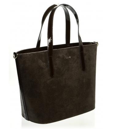Hnedá vystužená kabelka s potlačou S640 - Grosso