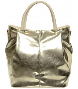Zlatá metalická mechová kabelka S400 - Grosso