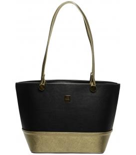 Čierno-zlatá menšia kabelka cez rameno S642 - Grosso