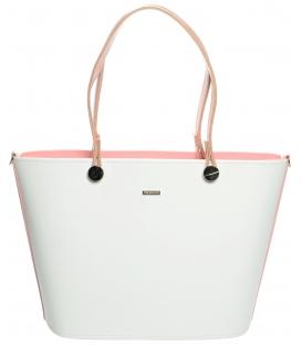 Fehér-rózsaszín  elegáns kézitáska S631 - Grosso