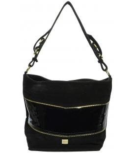 Čierna kožená kabelka so zipsami K601 - Grosso