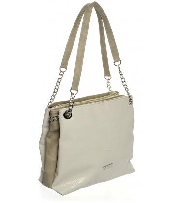 Béžová praktická kabelka s retiazkou  S652 - Grosso